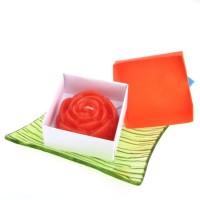 Dárková krabička papírová mašle (svíčka) - růže oranžová