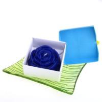 Dárková krabička papírová mašle (svíčka) - růže modrá