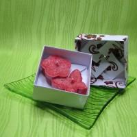 Dárková krabička (svíčky) - motýlek a kytička červení