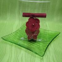 Svíčky - motýlek a kytička červení