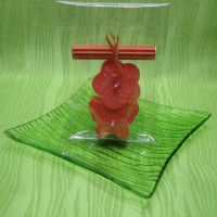 Svíčky - motýlek a kytička oranžoví