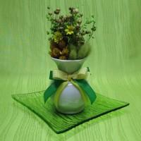 Vázička porcelánová - žlutozelená dekorace