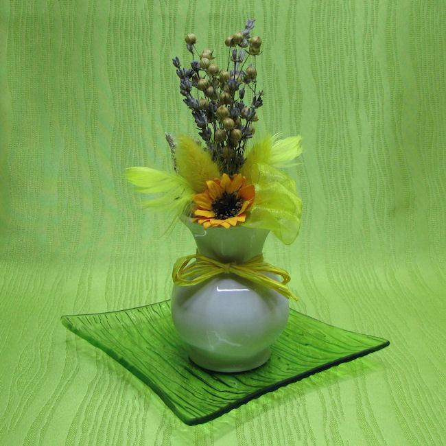 Vázička porcelánová - žlutá dekorace